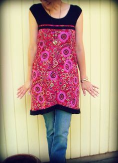 Old t-shirt + old skirt = new t-skirt. Other good ideas for old clothes too.