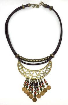 """Collier """"Kuzco"""" plastron ethnique en cuir , en laiton bronze et pierres naturelles"""