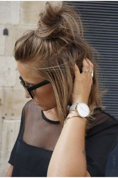 Hair accessory: hun bun hairstyles mesh top black t-shirt