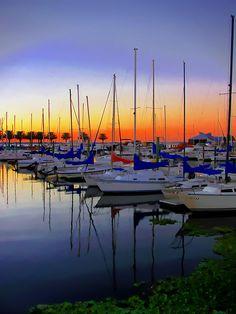 Set Sails Down - Sail boats at Lake Monroe, Sanford, Florida