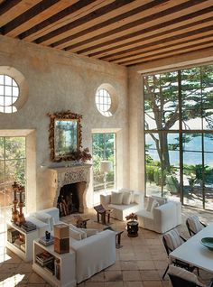 Interior Design by Richard Shapiro. Photo via C Home - luxury seaside homes - luxury coastal homes - neutral living rooms - rustic living rooms - rustic beachfront interior design Living Room Designs, Living Spaces, Living Area, Home Fashion, Fashion Blogs, My Dream Home, Dream Homes, Great Rooms, Home And Living