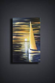 Simple Oil Painting, Simple Acrylic Paintings, Acrylic Painting Techniques, Acrylic Art, Acrylic Painting Canvas, Art Paintings, Portrait Paintings, Sailboat Art, Sailboat Painting