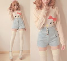I don't like the socks and the shoes, but the shorts and the top are so cute! #KawaiiFashion