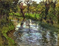 """Frits Thaulow was a Norwegian impressionist painter, best known for his naturalistic depictions of landscape. Johan Frederik Thaulow was born in Christiania, the son of the wealthy chemist, Harald Conrad Thaulow and Nicoline """"Nina"""" Louise Munch Fantasy Landscape, Landscape Art, Landscape Paintings, Landscapes, Sea Art, Drawing Skills, Art Techniques, Painting & Drawing, River"""