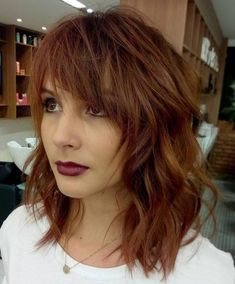 Medium Messy Hairstyle With Bangs