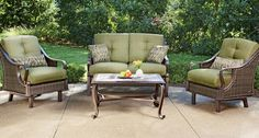 Trade your den for natural light and fresh air! The Ventura 4-Piece Patio Set includes: 1 cushioned loveseat, 2 cushioned arm chairs, and 1 glass-top coffee table, all handwoven wicker over steel and aluminum. Four color choices including meadow (shown). Online only. #shopko