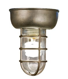 @Brianne Allen  -  I wonder if we can find something similar to this for less, even reclaim stuff like this from salvage yards, etc???? It would be perfect for a ceiling light as it's protected IF anything get's thrown that high up. -   Barn Light Cast Guard CGU Rustic Flush Mount in 96-Galvanized with Clear Glass