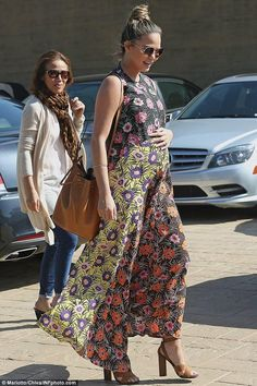 Chrissy Teigen wearing Marni Floral Print Voile Maxi Dress 04ac8cd8973c2