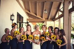 backyard summer wedding yellow sunflowers blue bridesmaids http://www.nickcoronaphotography.com/blog/balancing-the-wedding-industry-takes-the-strength-of-a-sunflower-cory-corona-ca.html