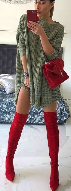 #winter #outfits gray crochet sweater