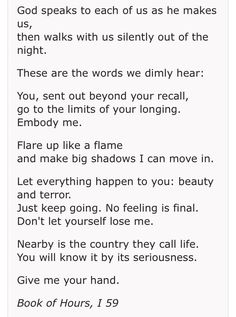 Go to the Limits of Your Longing,  by Rainer Maria Rilke