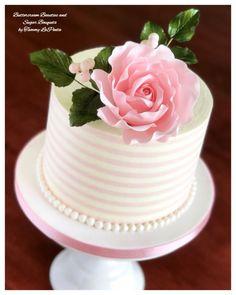 Striped Buttercream Beauty by Tammy LaPenta Buttercream Cake, Fondant Cakes, Cupcake Cakes, Beautiful Cakes, Amazing Cakes, Single Tier Cake, Striped Cake, Birthday Cakes For Women, Cake Birthday