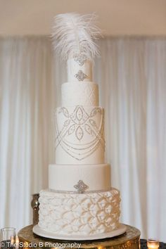photo: The Studio B Photography; Glamorous all white wedding cake