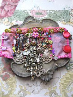 Fantastical Rain Dance Gypsy Jangle Bracelet, Vintage, Antique, Elements, Pink, Kuchi, Gypsy, Cuff
