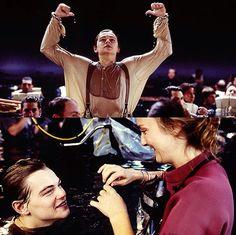 Leo DiCaprio behind the scenes of Titanic