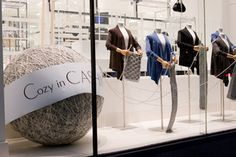 """giant ball of yarn in """"Cozy in Cashmere"""" window display at HBC, Toronto"""