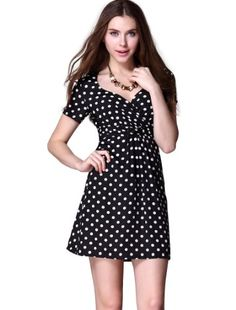 Ever Pretty Retro Short Sleeve Empire Waist Polka Dot Casual Day Dress 03926   Ever Pretty Retro Short Sleeve Empire Waist Polka Dot Casual Day Dress 03926 V-neck polka-dotted summer casual dress. Not padded. Unique ruched bust enhances the charm of this dress. Concealed side zipper. Lining, no stretch. The sleeve length of size 8-18 are all 18-20cm. The sleeve opening of size 8-18 are 30-33cm,33-35cm,33-35cm,35-38cm,35-38cm,38-40cm. The shoulder across of size 8-18 are 35c,.37cm,38c..
