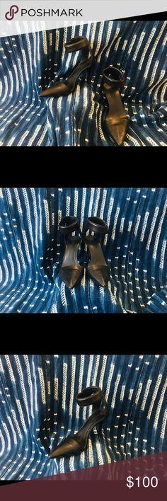 Alexander Wang Black Leather Heels Beautiful Ankle Strap, Sexy Alexander Wang Heels Light Wear Alexander Wang Shoes Heels