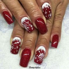 Winter nails with snowflake; red and white Christmas nails; cute and unique Chri. - - Winter nails with snowflake; red and white Christmas nails; cute and unique Chri… – - Christmas Nail Art Designs, Holiday Nail Art, Winter Nail Designs, Winter Nail Art, Winter Nails, Christmas Design, Xmas Nail Art, Red Nail Art, Summer Nails