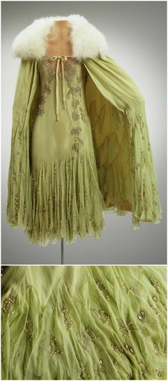 Evening Ensemble (Dress, Slip, and Cape), made by Mme. Frances Inc., New York, 1927, at the Hillwood Estate, Museum & Gardens. Marjorie Merriweather Post wore the dress to daughter Eleanor's debut dance at the Ritz Carlton. Sheer silk chiffon, silk charmeuse, fox fur. CLICK THROUGH FOR BIGGER IMAGES.