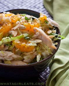Chinese Chicken Salad, crispy cabbage, shredded chicken and mandarin oranges in a slightly sweet dressing. No chemical filled  ramen season packets! Great for a baby shower or BBQ! Makes a LOT!