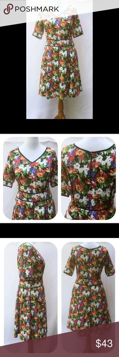 """New Eshakti Floral Fit & Flare Dress XL 18 New Eshakti floral piped trim fit & flare dress. Size XL 18   Measured flat: Underarm to underarm: 41 ½"""" Waist: 37"""" Length: 42"""" Eshakti size chart for size XL 18 bust: 43 ½"""" Princess seamed bodice, v neck, back exposed zipper. Banded waist, flared skirt w/ contrast piped trim, side hidden zipper, side seam pockets. Lined in polyester moss crepe. Polyester, woven crepe, no stretch. Machine wash. New w/ cut out Eshakti tag to prevent returning…"""