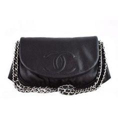Chanel Half Moon Bag. Black Caviar Leather Canvas Handbags 32fbd3f28e