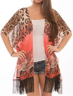 Coral Paisley Leopard Print Fringe Coverup Poncho Scarf - To Order, Please Go To http://www.arabellaave.com/?a_aid=cynthiab