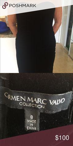 Elegant strapless black velvet dress Stunning strapless black velvet Carmen Marc Valvo dress. Size 8. Perfect for a winter wedding or cocktail party. Carmen Marc Valvo Dresses Strapless