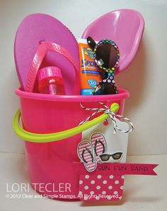 cute gift idea - get sand bucket at acmoore, flip flops old navy, etc.