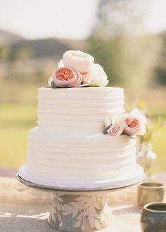 simple two tier white wedding cakes