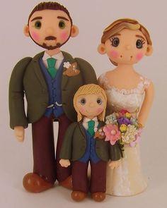 Bride & Groom clay wedding cake topper By #Tinylovetoppers  http://www.tinylove-wedding-cake-toppers.co.uk/
