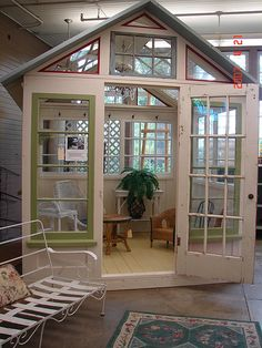 Dishfunctional Designs: Window of Opportunity: Old Salvaged Windows Get New Life As Unique Decor -Greenhouse made from old windows Window Greenhouse, Greenhouse Shed, Small Greenhouse, Old Windows, Windows And Doors, Windows Decor, Commercial Greenhouses For Sale, Reclaimed Windows, Recycled Windows