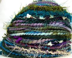 Kitty Grrlz HandSpun Art Yarn merino wool Twilight Garden by kittygrrlz, $ 55.00