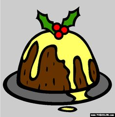 Christmas Pudding Coloring Page