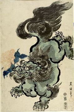 Utagawa Toyokuni  Japanese (1769 - 1825)  Lion with Peony, Late Edo period, 1800  Print