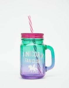 New Look Unicorn Fan Club Glass Jar With Straw