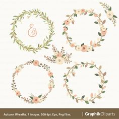 Autumn Wreaths Clipart. Wreaths Clipart. Floral by Graphikcliparts