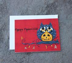 Orange Halloween Owl Greeting Cards  Holiday Cards by concettasdesigns, $6.00 #halloween #owls #halloweenowlcards