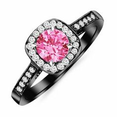2.23 Carat 14K Black Gold Classic Square Halo Single Row Pave Set Diamond Engaement Ring with a 2 Carat Natural Pink Sapphire Center Heirloom Quality #BlackGold
