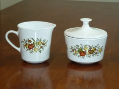 Spice of Life Centura by Corning Creamer and Sugar Bowl Dish on Etsy, $12.95