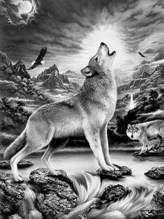 Mandala Wolf, Wolf Artwork, Wolf Spirit Animal, Wolf Pictures, Wolf Images, Wolf Wallpaper, Beautiful Wolves, Tatoo Art, Wolf Tattoos