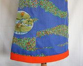 Tiny Frog embroidery, A-line skirt,  upcycle, cotton polyester mix, spawn, marsh marigold, blue orange lime, size Small