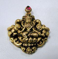 vintage antique 22 K solid goddess Laxmi pendant by TRIBALEXPORT, $1999.00