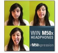 """Want the newly remastered ATH-M50x studio monitor headphones? Snap a pic of your best """"I want a new M50x face"""" and post to Instagram with the hashtag #M50xpression for a chance to win a pair. For details, see the 'ATH-M50x Instagram Contest' tab on our Facebook page! #free #giveaway #contest #prize #M50x"""