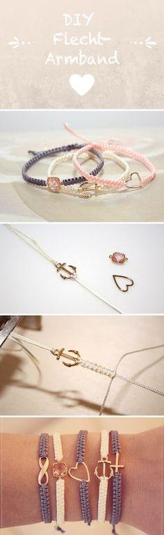 DIY Flechtarmband – knüpfe dein eigenes DIY Armband ♥ Freundschaftsarmband … DIY braided bracelet – make your own DIY bracelet ♥ friendship bracelet ♥ DIY jewelry Diy Jewelry Unique, Diy Jewelry Making, Bracelet Making, Jewelry Crafts, Diy Bracelet, Heart Bracelet, Braided Bracelets, Macrame Bracelets, Friendship Bracelets