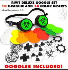 GodEmperor 23 GOGGLES Cyberdog style Cyber Rave Punk Goth EMO Industrial Rivet