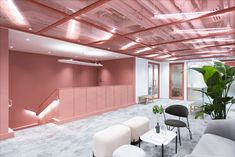 FRAME | Ruby Timber Ceiling, White Ceiling, Acoustic Baffles, Used Lockers, Modular Lounges, Timber Table, Traditional Office, Desk Areas, Cafe Tables