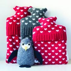 Heart Design Hot Water Bottles And Penguin from The Fine Cotton Company