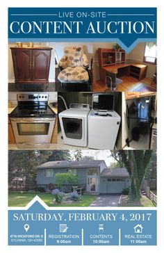 Live On-Site Content Auction in Sylvania Sat. Feb. 4, 2017 at 10:00am Registration at 9:00am Real Estate Sells at 11:00am View More Info at www.pamelaroseauction.com or call 419-865-1224 Pamela Rose Auction Co. LLC #PamelaRoseAuction